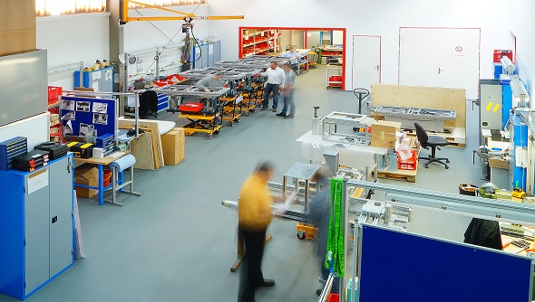 Production hall of Ergo-Tec GmbH in Wilhelmsdorf